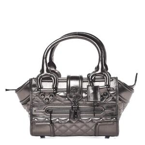Burberry Mini Manor Quilted Calfskin in Pewter